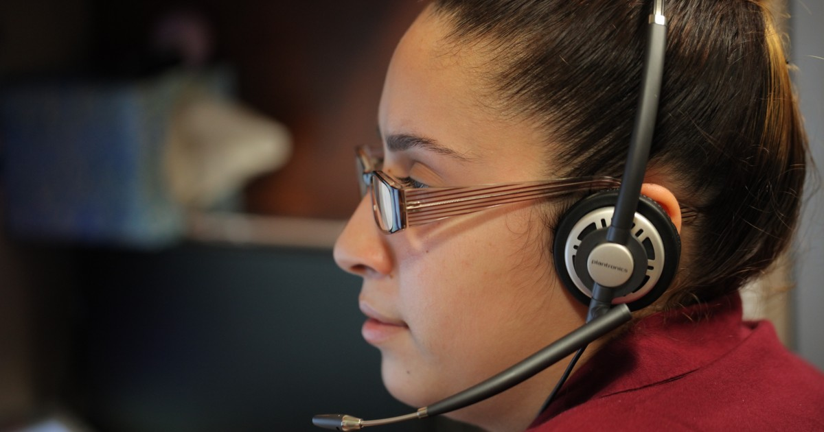 Woman on a phone headset